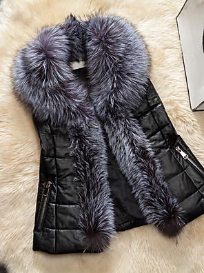 Alkalmi / Casual/hétköznapi Egyszerű / Utcai sikk Kabát-Női Egyszínű Szokványos Kosaras Műszőrme / Pamut Pamut V-alakú Ujjatlan Fekete