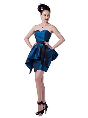 קצר \ מיני טפטה שמלה לשושבינה  - בלוק צבע מעטפת \ עמוד מחשוף לב עם סרט