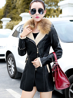 Women's Going out Simple Leather Jackets,Solid Notch Lapel Long Sleeve Winter Black PU Thin