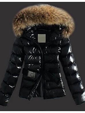 Dámské Standardní S vycpávkou Šik ven Běžné/Denní Jednobarevné-Kabát Polyester Bavlna Dlouhý rukáv Kapuce Černá / Hnědá