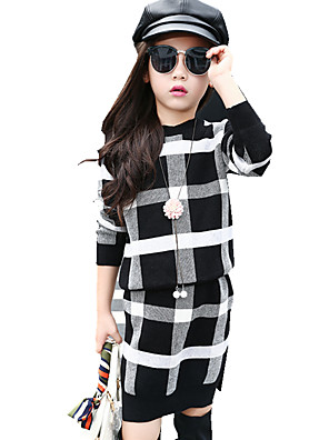 Girl's Stylish Check Preppy Plaid Clothing Set (Knitwear Sweater & Knit Skirt)
