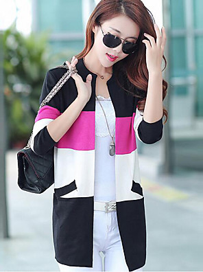 Women's Plus Size / Casual/Daily Simple / Street chic Long CardiganStriped Hin Thin All Match Round Neck Long Sleeve