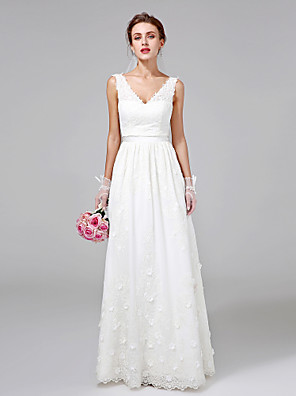 2017 Lanting Bride® A-line Wedding Dress Floor-length V-neck Lace with Flower / Sash / Ribbon