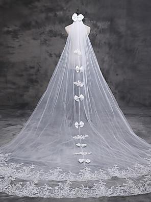 הינומות חתונה שכבה אחת צעיפי קתדרלה אפליקצית קצה תחרה טול / תחרה