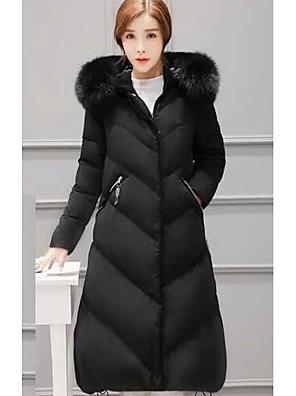Dámské Dlouhé Dlouhý kabát Jednoduché Běžné/Denní Jednobarevné-Kabát Polyester Prachové kachní peří bílé Dlouhý rukáv Černá