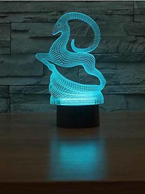 צבי חג המולד נוגעים עמעום 3D LED מנורת לילה מנורת 7colorful אווירה לתאורת חידוש אור חג המולד