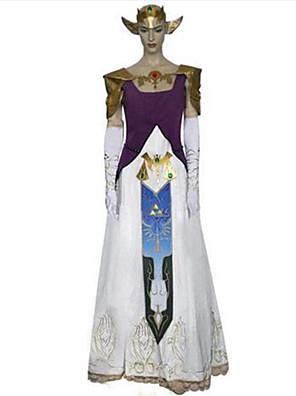 קיבל השראה מ The Legend of Zelda Alice אנימה תחפושות קוספליי חליפות קוספליי דפוס / טלאים לבן / סגול בלי שרווליםשמלה / כפפות / אביזרים
