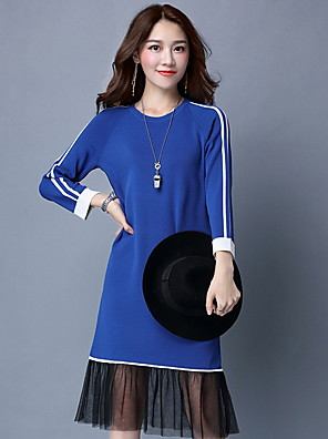 Women's Going out / Casual/Daily Cute / Street chic Sweater Dress,Solid Round Neck Midi Long Sleeve Blue / Red / Black Cotton FallMid