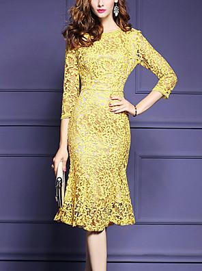 Dámské Jednoduché Běžné/Denní / Velké velikosti Bodycon Šaty Jednobarevné,Tříčtvrteční rukáv Kulatý Midi Žlutá Polyester Všechna období