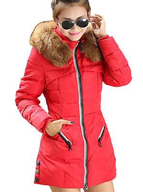 Dámské Jednoduché Polyester S vycpávkou Kabát Dlouhý rukáv