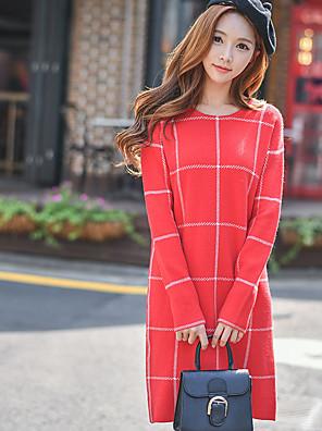 סתיו / חורף פוליאסטר / ניילון / אחרים אדום שרוול ארוך מעל הברך צווארון עגול קולור בלוק וינטאג' / סגנון רחוב / מתוחכםליציאה / יום