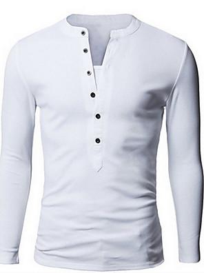 Masculino Polo Informal / Casual Simples Primavera / Outono,Sólido Branco / Preto / Cinza / Verde Algodão Colarinho Chinês Manga Longa