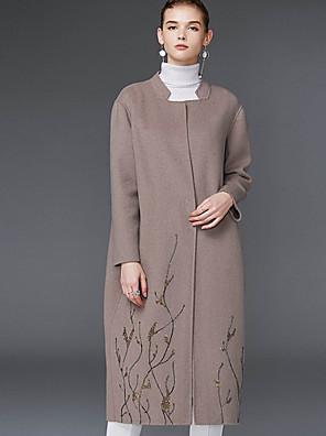 Damen Solide Einfach Lässig/Alltäglich Mantel,Winter U-Ausschnitt Langarm Grau Wolle / Polyester