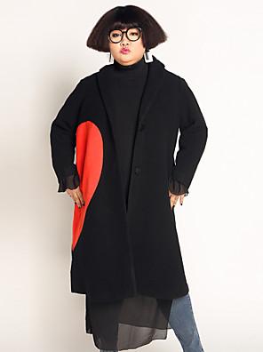 Casual/hétköznapi / Nagy méretek Egyszerű Téli-Női Kabát,Nyomtatott Hasított rever Hosszú ujj Fekete Gyapjú / Poliészter
