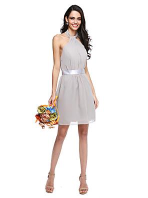 Lanting Bride® Krátký / Mini Šifón Mini já Šaty pro družičky - Pouzdrové Ohlávka s Šerpa / Stuha / Sklady