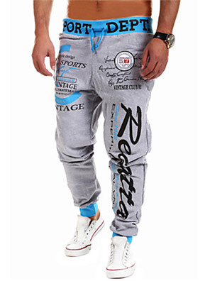 Men's Sweatpants,Casual / Sport Print Cotton / Polyester