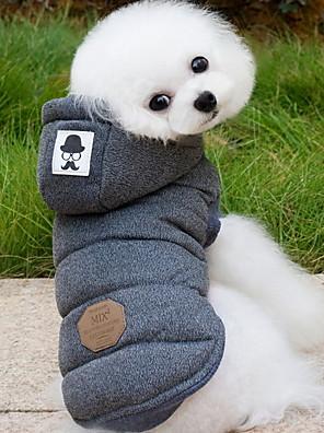 Cães Casacos / Camisola com Capuz / Colete Azul / Cinzento Roupas para Cães Inverno Cor Única Da Moda / Mantenha Quente