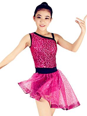 בלט תלבושות בגדי ריקוד נשים / בגדי ריקוד ילדים ביצועים ספנדקס / פוליאסטר / אורגנזה / נצנצים / טולPaillettes / Ruched / אבנט / סרט /