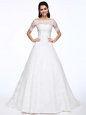 Lanting Bride® A-Linie Svatební šaty Dva díly Velmi dlouhá vlečka Spadlý Krajka / Satén s Aplikace / Korálky / Knoflíky