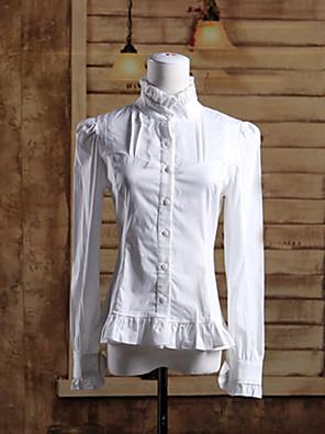 חולצה לוליטה קלאסית ומסורתית לוליטה Cosplay שמלות לוליטה לבן אחיד שרוול ארוך לוליטה חולצה ל נשים כותנה
