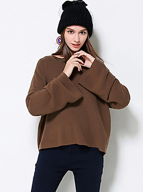 MEIDONGTAI Women's Plus Size / Casual/Daily Simple Regular PulloverSolid Brown Round Neck Long Sleeve Cotton / Acrylic Fall / Winter Medium Stretchy