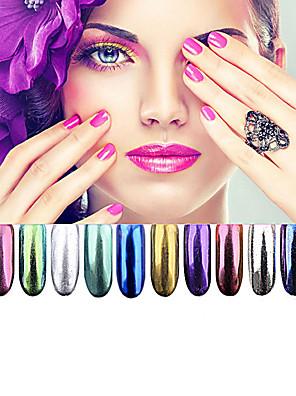 12 farve krom spejl pulver guld pigment ultrafine pulver støv negle skinner nail pailletter nailart dekorationer 1g