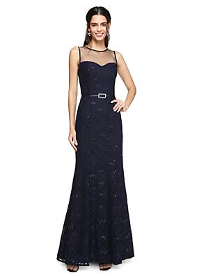 Lanting Bride® באורך הקרסול תחרה שמלה לשושבינה  - נוצץ וזוהר מעטפת \ עמוד עם תכשיטים עם סרט / נצנצים