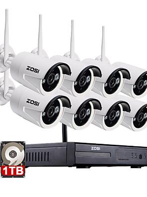 zosi®8ch 960p nvr 8pcs 1.3MP WiFi IP-Kamera wasserdicht nach Hause Sicherheitsüberwachung Kit mit 1 TB
