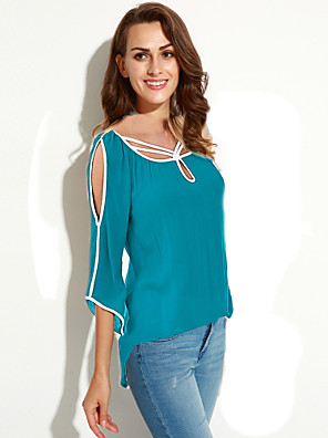 אחיד א-סימטרי סגנון רחוב ליציאה חולצה נשים,קיץ אורך שרוול ¾ כחול / שחור דק חוטי זהורית