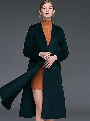 Damen Solide Einfach Lässig/Alltäglich Mantel,Winter V-Ausschnitt Langarm Braun / Grün Wolle