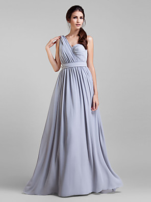 Lanting Bride® עד הריצפה ג'ורג'ט שמלה הניתנת להמרה שמלה לשושבינה - גזרת A פלאס סייז (מידה גדולה) / פטיט עם סרט / בד בהצלבה / סיכה מקריסטל