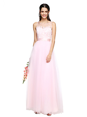 Lanting Bride® Longo Tule Transparente Vestido de Madrinha - Linha A Decorado com Bijuteria com Apliques / Faixa / Fita / Franzido