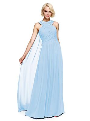 Lanting Bride® עד הריצפה שיפון שמלה לשושבינה - נשף קולר עם חרוזים