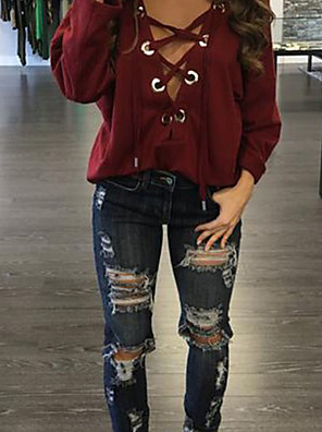 Women's Going out / Casual/Daily / Formal Sexy Fall / Winter T-shirt,Solid Deep V Long Sleeve Red / Green Cotton