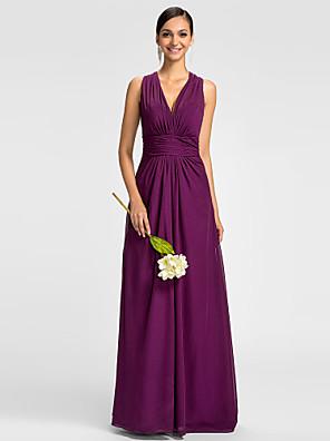 Lanting Bride® Na zem Šifón Mini já Šaty pro družičky - A-Linie Do V Větší velikosti / Malé s Boční řasení / Sklady