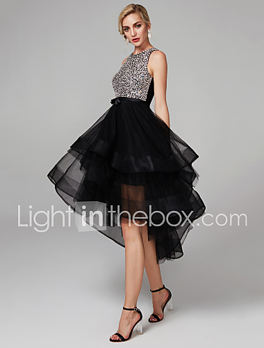 55f2f39dc0 Dress Barn Style Ball Gown Jewel Neck Knee Length Satin   Tulle Sparkle    Shine
