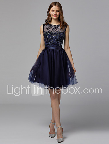 31f58d362 A-Line Boat Neck Short / Mini Satin / Tulle Cocktail Party Dress with  Beading