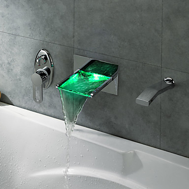 Led Waterfall Tub Faucet With Pull Out Hand Shower Wall