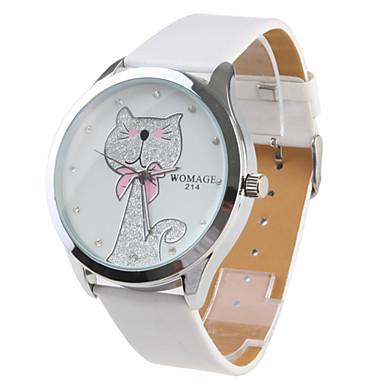 Buy Women's Cartoon Cat Pattern White PU Band Quartz Analog Wrist Watch Cool Watches Unique