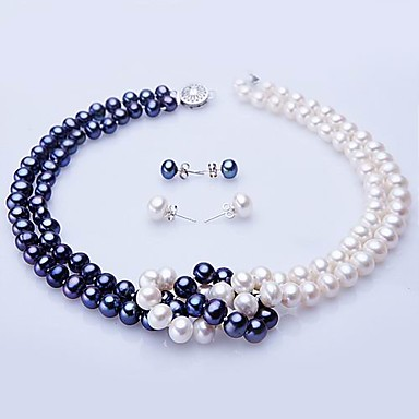 Buy White & Blue Freshwater Pearl Necklace Earring Set