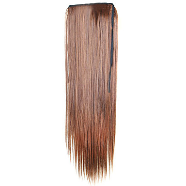 Buy 18 Inch Laceup Design Synthetic Straight Ponytail - 4 Colors Available