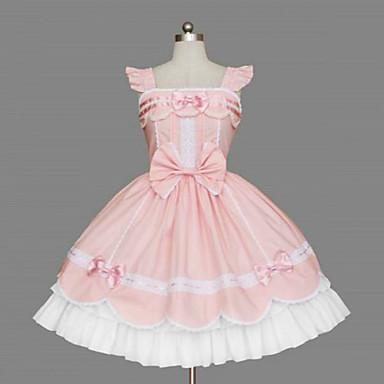 Princess Sweet Lolita Dress Women\'s Girls\' Cotton Japanese Cosplay Costumes  Plus Size Customized Pink Ball Gown Bowknot Sleeveless Medium Length