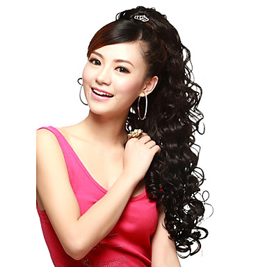claw clip synthetic wavy extra long black ponytails hair