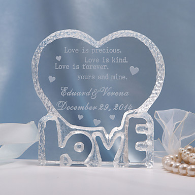 Cake Topper Personalized Hearts Crystal Wedding Bridal Shower Anniversary Classic Theme Gift