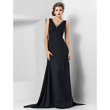 TS Couture® Formal Evening / Military Ball Dress - Elegant Plus Size / Petite Sheath / Column V-neck Watteau Train / Sweep / Brush Train Chiffon