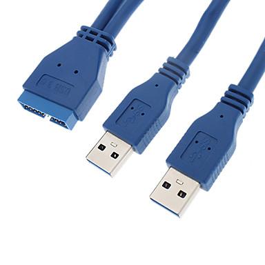 Buy USB3.0 20P M 2 x AM Cable (25 cm)