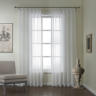 (One Pair) Modern Linen Jacquard Solid Sheer Curtain