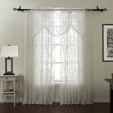 #(One Panel) Grommet Top Embroidery Sheer With Valance Curtain Set