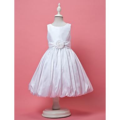 LAN TING BRIDE A-line Princess Knee-length Flower Girl Dress - Taffeta Jewel with Draping Flower(s) Sash / Ribbon