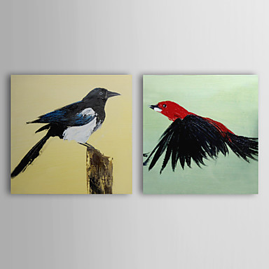 Hand Painted Oil Painting Animal Two Birds with Stretched Frame Set of 2 1310...